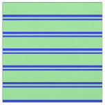 [ Thumbnail: Blue & Light Green Stripes/Lines Pattern Fabric ]