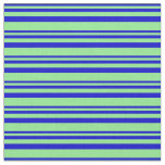 [ Thumbnail: Blue & Light Green Stripes Pattern Fabric ]