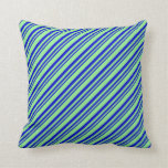 [ Thumbnail: Blue & Light Green Stripes Pattern Throw Pillow ]