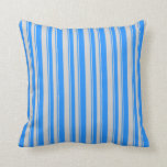 [ Thumbnail: Blue & Light Grey Colored Pattern of Stripes Throw Pillow ]