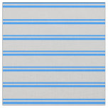 [ Thumbnail: Blue & Light Grey Stripes Pattern Fabric ]