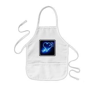 Blue Light Heart  Children's Smock Aprons