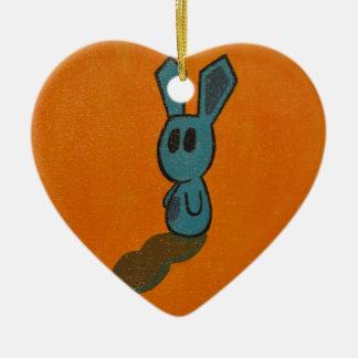 Blue & Light Orange bunny Ceramic Ornament
