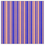[ Thumbnail: Blue & Light Salmon Colored Lined/Striped Pattern Fabric ]