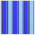 [ Thumbnail: Blue, Light Sky Blue & Black Colored Pattern Fabric ]