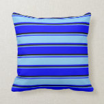 [ Thumbnail: Blue, Light Sky Blue & Black Colored Pattern Throw Pillow ]