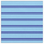 [ Thumbnail: Blue & Light Sky Blue Colored Pattern of Stripes Fabric ]