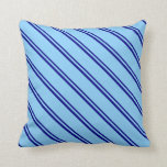 [ Thumbnail: Blue & Light Sky Blue Colored Pattern of Stripes Throw Pillow ]