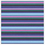 [ Thumbnail: Blue, Light Sky Blue, Deep Pink, Dark Cyan & Black Fabric ]