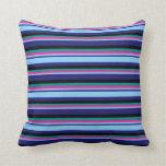 [ Thumbnail: Blue, Light Sky Blue, Deep Pink, Dark Cyan & Black Throw Pillow ]