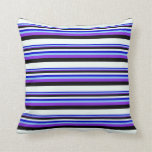 [ Thumbnail: Blue, Light Sky Blue, Purple, Black & Mint Cream Throw Pillow ]