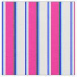 [ Thumbnail: Blue, Light Sky Blue, White, Deep Pink, Dark Green Fabric ]