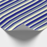 [ Thumbnail: Blue, Light Slate Gray, and Light Yellow Pattern Wrapping Paper ]