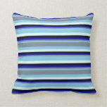 [ Thumbnail: Blue, Light Slate Gray, Blue, Black & Light Cyan Throw Pillow ]