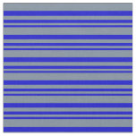 [ Thumbnail: Blue & Light Slate Gray Colored Stripes Fabric ]