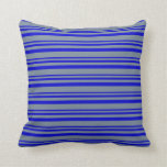 [ Thumbnail: Blue & Light Slate Gray Colored Stripes Pillow ]