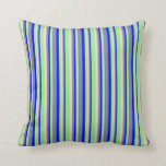 [ Thumbnail: Blue, Light Slate Gray, Tan & Light Green Colored Throw Pillow ]