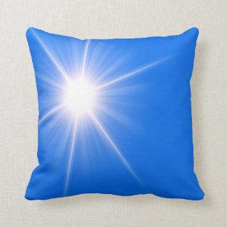 Blue light sun abstract art throw pillow