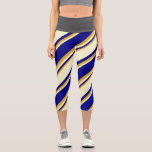 [ Thumbnail: Blue, Light Yellow, and Goldenrod Lines Leggings ]