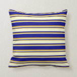 [ Thumbnail: Blue, Light Yellow, and Goldenrod Lines Pillow ]