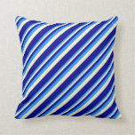 [ Thumbnail: Blue, Light Yellow & Dark Blue Colored Lines Throw Pillow ]
