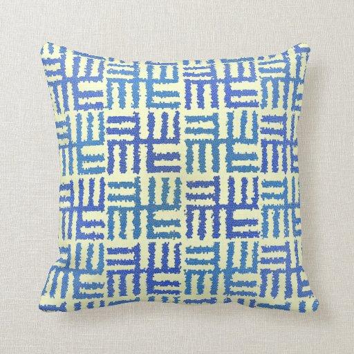 Pale Yellow Decorative Pillows : Blue & Light Yellow Motif Throw Pillow Zazzle