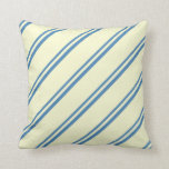 [ Thumbnail: Blue & Light Yellow Striped Pattern Throw Pillow ]