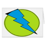 Blue lightening, bolt, nerd design greeting card