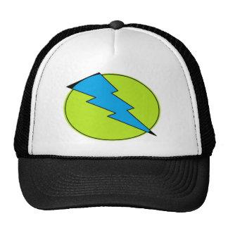 Blue lightening, bolt, nerd design trucker hat