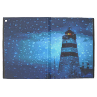 Blue lighthouse a dark rainy night iPad pro case
