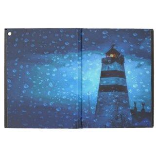 Blue lighthouse a dark rainy night iPad pro case
