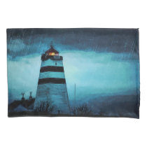 Blue lighthouse tower at night in pouring rain pillowcase