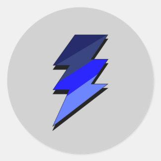 Blue Lightning Thunder Bolt Classic Round Sticker