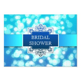 "blue lights bridal shower modern invitation 5"" x 7"" invitation card"