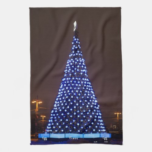 Blue lights Christmas tree Hand Towel