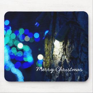 Blue Lights on a Tree Christmas Mousepad