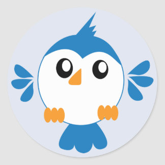 Blue Lil' Bird Classic Round Sticker
