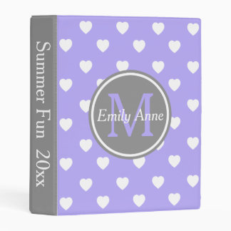 Blue Lilac and Dove Grey Hearts Monogram Mini Binder