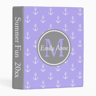 Blue Lilac and Dove Grey Nautical Anchors Monogram Mini Binder