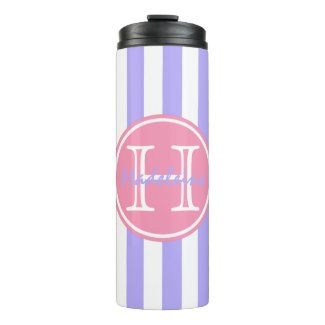 Blue Lilac and White Stripes Personalized Thermal Tumbler