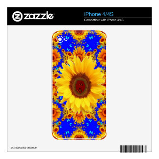BLUE-LILAC  BUTTERFLIES & YELLOW SUNFLOWERS SKINS FOR THE iPhone 4
