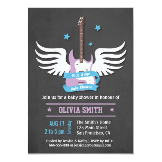 Blue Lilac Guitar Rock a Bye Baby Shower Card