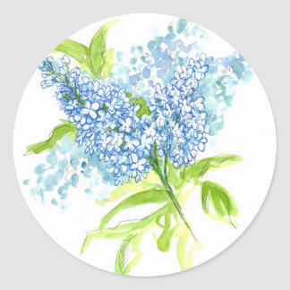 Blue Lilac Spring Bouquet Watercolor Flowers Classic Round Sticker