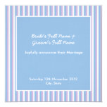"Blue Lilac Stripes blue Wedding Announcement 5.25"" Square Invitation Card"