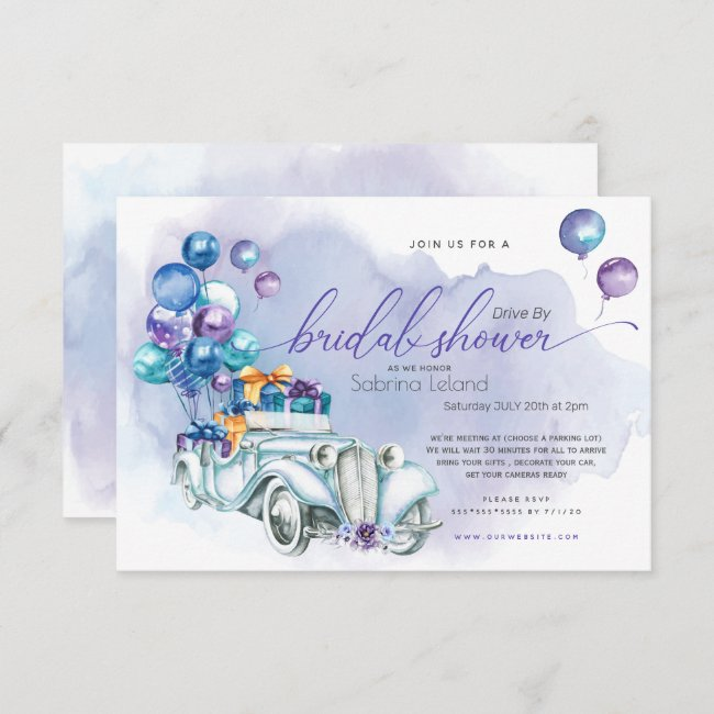 Blue Lilac Vintage Car Drive-By Bridal Shower Invitation