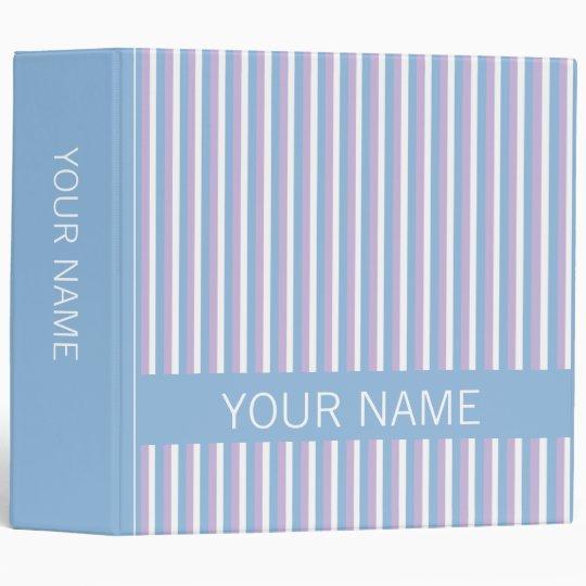 Blue Lilac White Stripes blue Binder