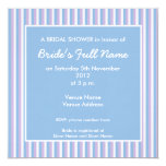 "Blue Lilac White Stripes blue Bridal Shower Invite 5.25"" Square Invitation Card"