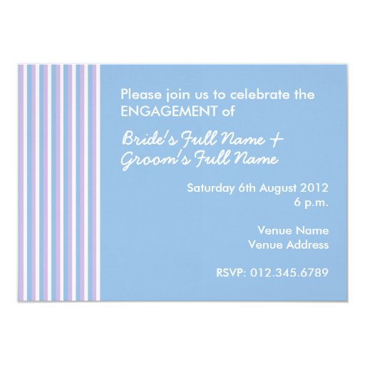 "Blue Lilac White Stripes blue Engagement Invite 4.5"" X 6.25"" Invitation Card"