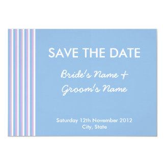 Blue Lilac White Stripes blue Save the Date Card