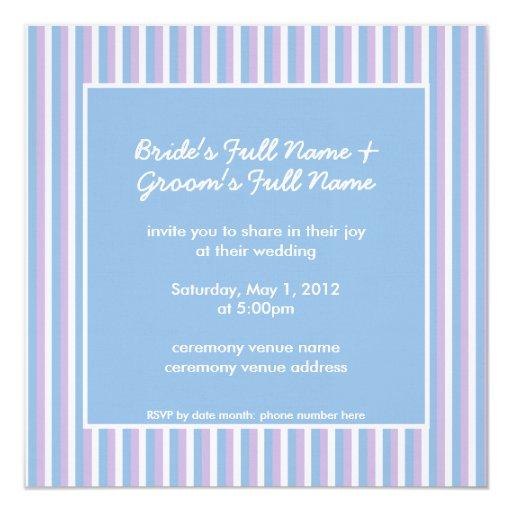 "Blue Lilac White Stripes blue Wedding Invitation 5.25"" Square Invitation Card"